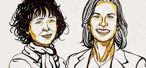 Retrato artístico de Emmanuelle Charpentier e Jennifer A. Doudna, vencedoras do Prémio Nobel da Química de 2020. ©Nobel Media. Ill. Niklas Elmehed.